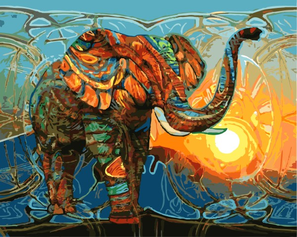 DIY Painting By Numbers - Abstract Elephant (16
