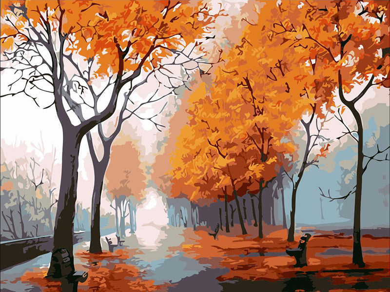 DIY Painting By Numbers - Autumn Park (16