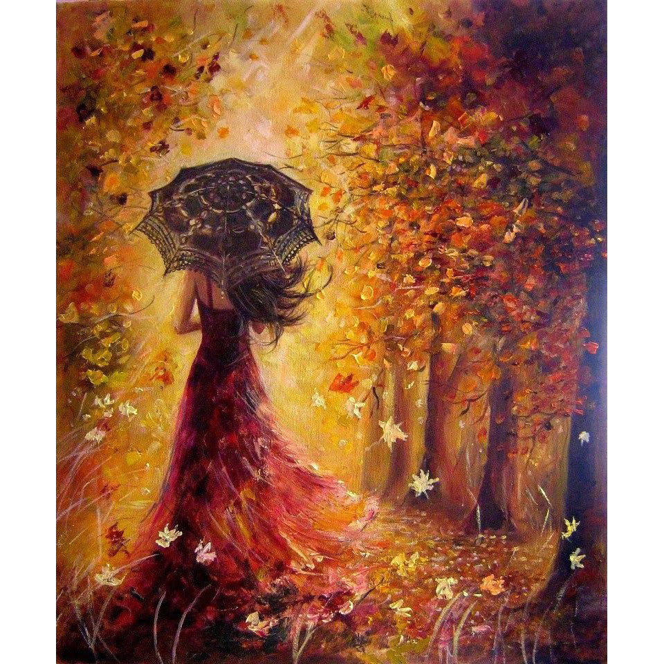 DIY Painting By Numbers - Beautiful Women Autumn Landscape (16