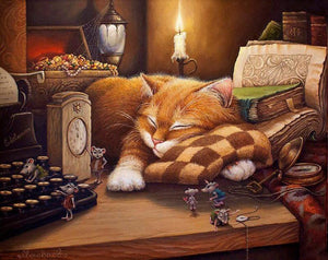 "DIY Painting By Numbers - Sleeping Cat  (16""x20"" / 40x50cm)"