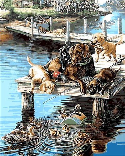 DIY Painting By Numbers - Dogs and Ducks Playing  (16