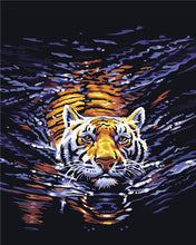 "DIY Painting By Numbers - Swimming Tiger (16""x20"" / 40x50cm)"