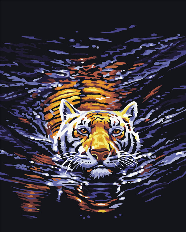 DIY Painting By Numbers - Swimming Tiger (16