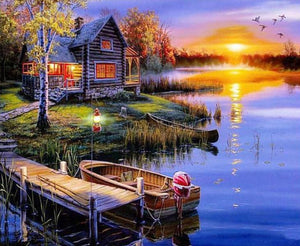 "DIY Painting By Numbers - Wooden Lake House (16""x20"" / 40x50cm)"