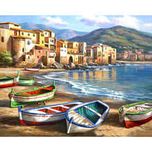 "DIY Painting By Numbers - Vivid Beach Boats (16""x20"" / 40x50cm)"