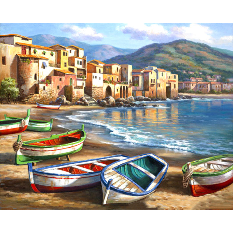 DIY Painting By Numbers - Vivid Beach Boats (16