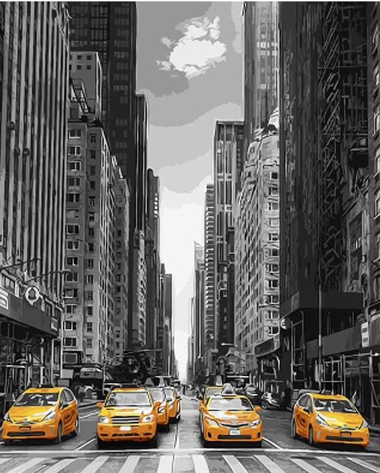 DIY Painting By Numbers - Yellow Cabs (16