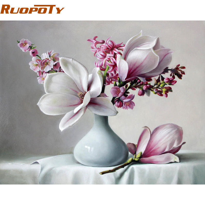 DIY Painting By Numbers - Magnolia Flower (16