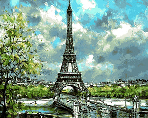 "DIY Painting By Numbers - Abstract Eiffel Tower (16""x20"" / 40x50cm)"