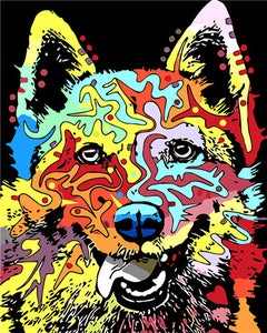 "DIY Painting By Numbers - Multicolored Dog (16""x20"" / 40x50cm)"