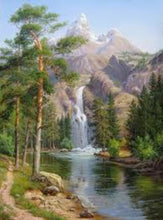 "DIY Painting By Numbers - Scenic Waterfall  (16""x20"" / 40x50cm)"