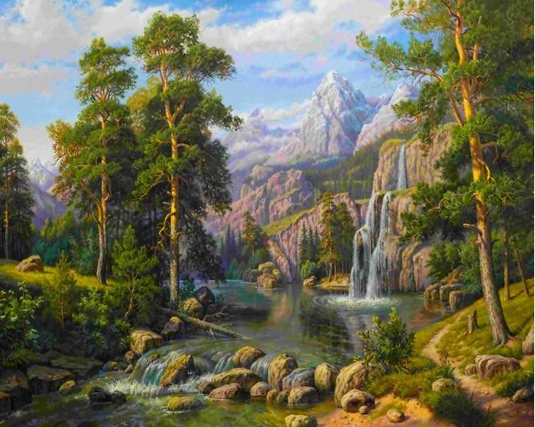 DIY Painting By Numbers - Breathtaking Waterfall (16