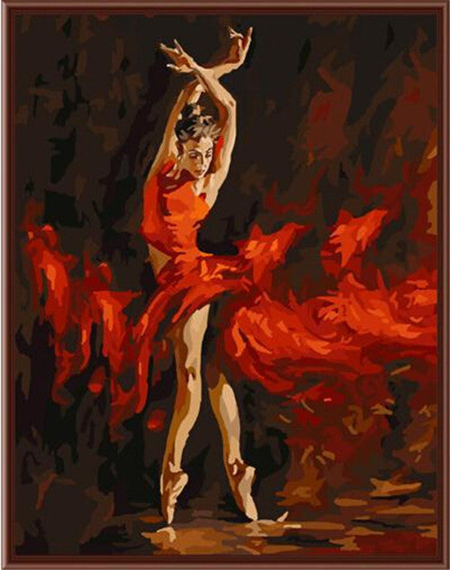 DIY Painting By Numbers - Ballet Dancer On Fire (16