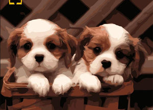 "DIY Painting By Numbers - Cute Puppies (16""x20"" / 40x50cm)"