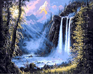 "DIY Painting By Numbers - Misty Waterfall (16""x20"" / 40x50cm)"