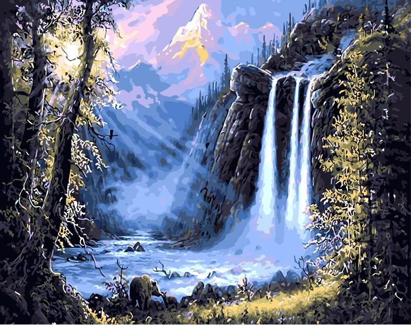 DIY Painting By Numbers - Misty Waterfall (16