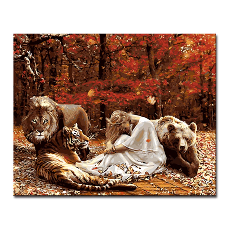 DIY Painting By Numbers - Lady and The  Felidae Family  (16