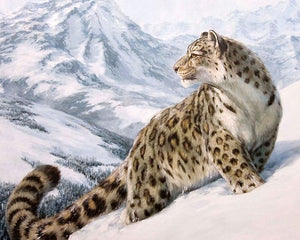 "DIY Painting By Numbers - Vigilant Snow Leopard (16""x20"" / 40x50cm)"