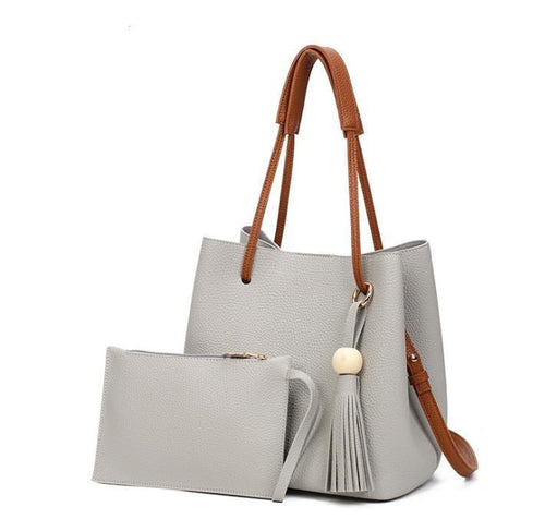 Simple Tassel Bucket Bag and Clutch