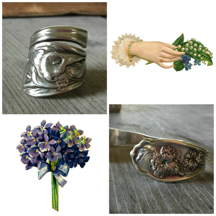 The Secret Meaning of Flowers on Upcycled Silverware Jewelry.