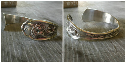 Upcycled Silverware Spoon Cuff Bracelet Featuring Victorian Flower Motif of a Carnation