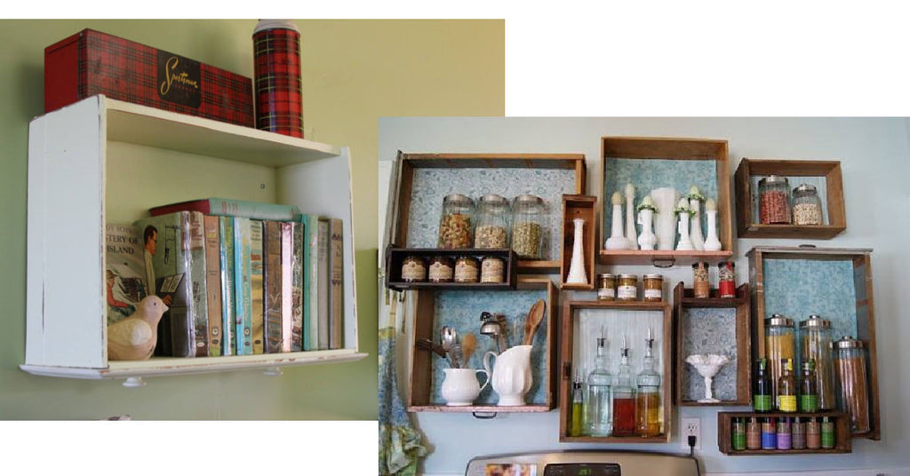 Upcycling Drawers into Shelves