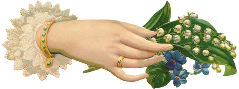 Victorian Right Hand Holding Lily of the Valley Bouquet