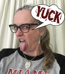 Laughing Frog Studio's Jen Edmondson Wearing Spoon Earrings and Stamped Spoon Necklace while making a YUCK face