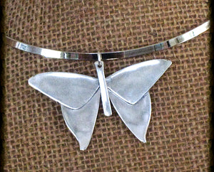 Sterling Silver Spoon Necklace Butterfly Pendant #0791