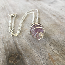 Raw Amethyst Wire Wrapped Pendant Necklace