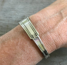 "Upcycled Spoon Cuff Bracelet Shown on Model 6"" wrist"