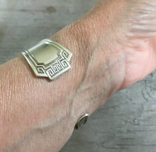 "Upcycled Silverware Cuff Bracelet Shown on Model 6"" wrist"