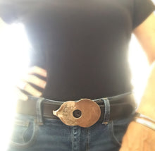 Guitar Bet Buckle Upcycled from Vintage Community Silverplate Grosvenor Casserole Spoon Shown on Belt on Model
