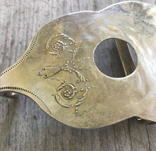 Upcycled Silverware Belt Buckle Shaped LIke a Guitar Close Up of Detail