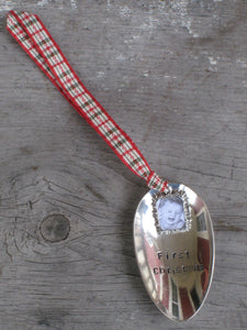 Hand Stamped Spoon Ornament First Christmas with Photo Frame