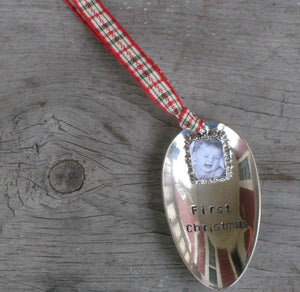 Upcycled Spoon Christmas Ornament with Handstamped First Christmas and photo frame