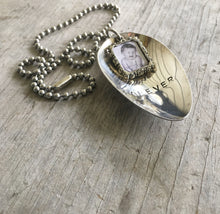 Stamped Spoon Necklace - FOREVER - Pewter Frame