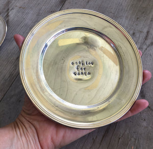 Cookies for Santa Hand Stamped Vintage Silverplate Dish Shown In Hand for Scale