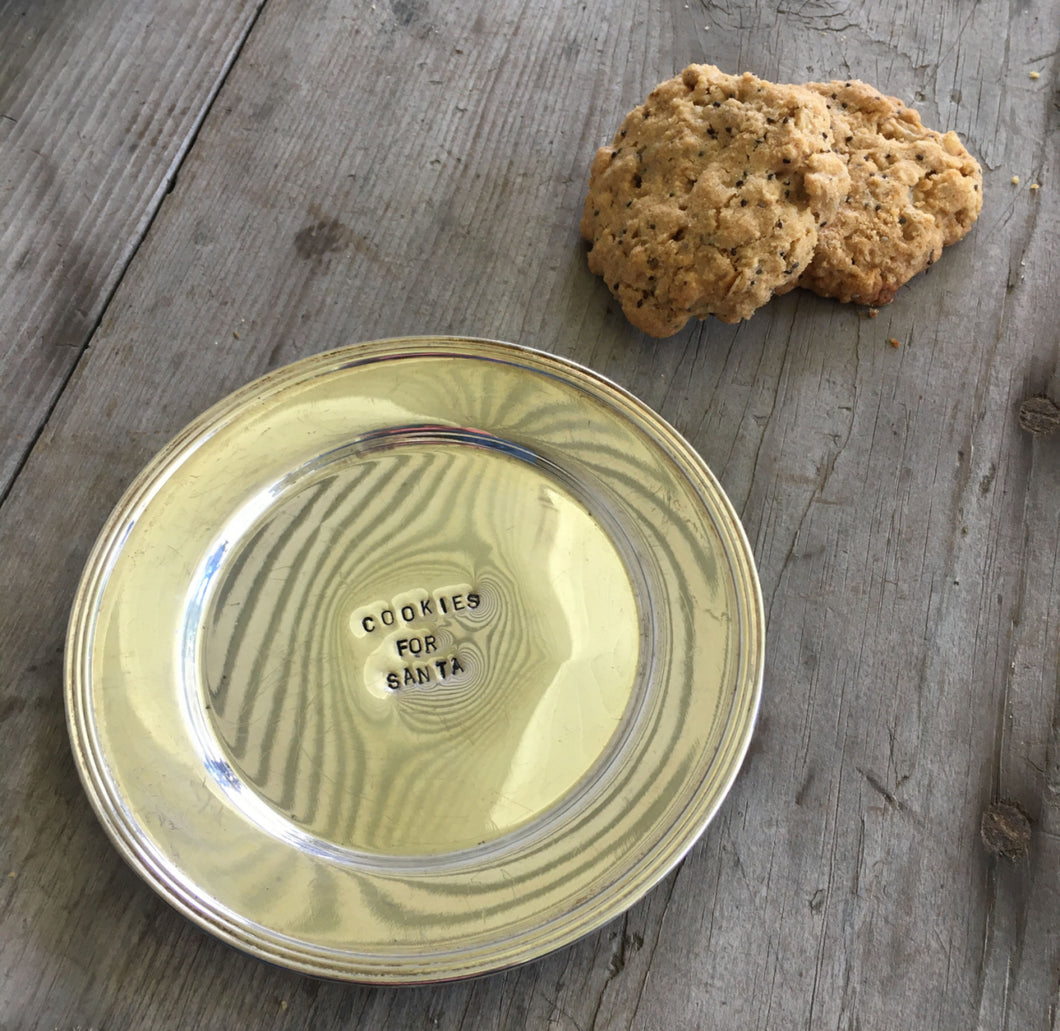 Silverplate Plate Hand Stamped with Cookies for Santa