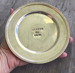 Hand Stamped Cookies for Santa Silverplate Dish Shown in Hand for Scale