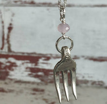 Fork Necklace - Pink Czech Bead - #3204