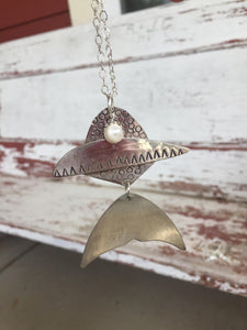 Upcycled Silverware fish necklace with cultured pearl accent