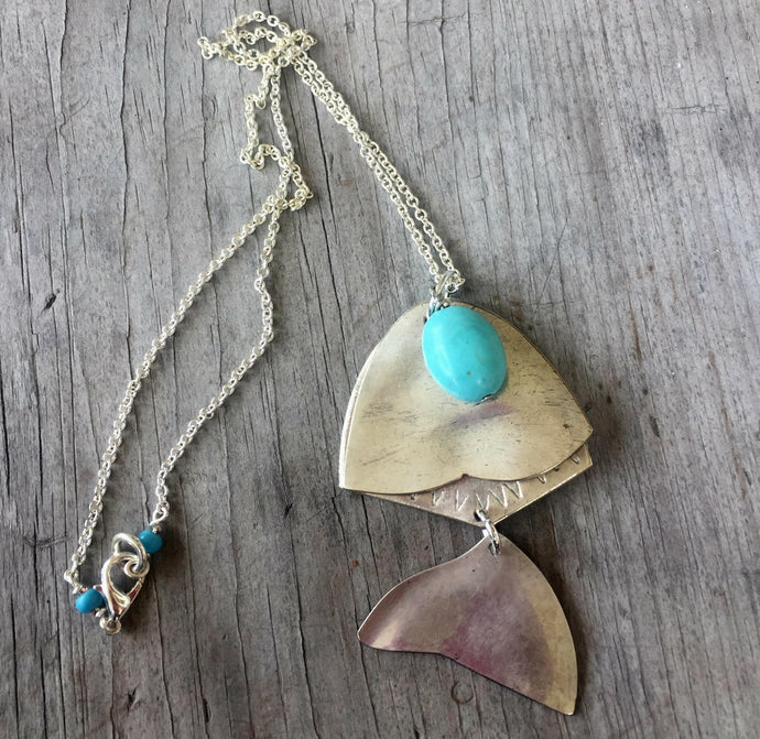Articulated Fish Necklace from Upcycled Spoons with Stone Bead - #3354