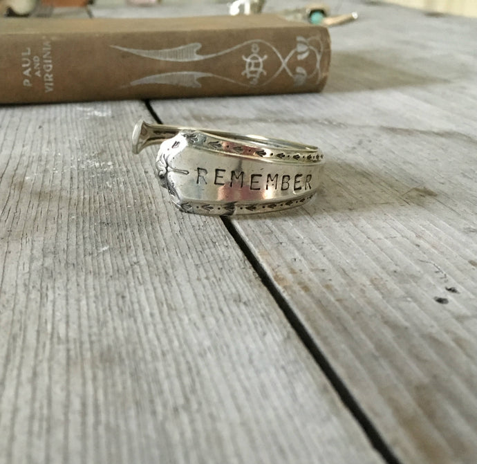 Algonquion Spoon Cuff Bracelet Stamped Remember