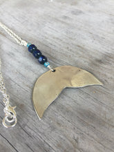 Spoon Whale Tail Necklace - Cobalt Glass Beads - #3452