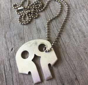 Upcycled Serving Fork Skull Shaped Necklace