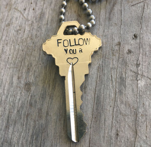 Hand Stamped Giving Key Necklace Follow Your Heart