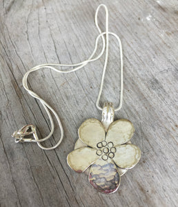Stylized Flower Necklace from Upcycled Spoons - #3521
