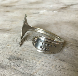 Spoon Cuff Bracelet Mermaid Soul with Tail Fin End