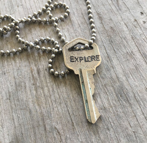 Explore Hand Stamped Key Necklace